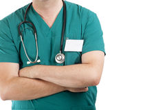 Doctor with stethoscope. Isolated on white background royalty free stock photography