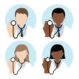 Doctor with stethoscope. Male and female doctor with stethoscope illustration Royalty Free Illustration