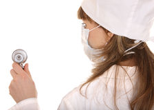 Doctor with stethoscope and mask. Royalty Free Stock Photo
