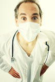 Doctor with stethoscope and medical mask. Doctor with stethoscope and flu mask stock photo