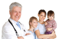 Doctor  with  stethoscope and patients Stock Photography