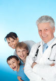 Doctor  with  stethoscope and patients Stock Photo
