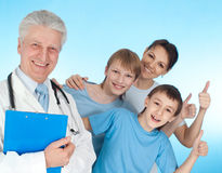 Doctor  with  stethoscope and patients Stock Images