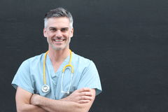 Doctor with stethoscope smiling portrait  Stock Photos