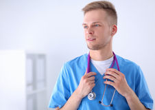 Doctor with stethoscope standing , crossed arms Royalty Free Stock Images