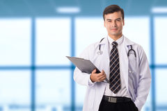 Doctor stethoscope standing and smiling Royalty Free Stock Photography