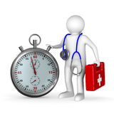 Doctor with stethoscope and stopwatch on white. Background. 3D image Royalty Free Stock Image