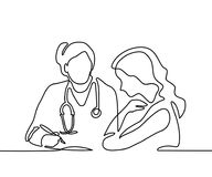 Doctor with stethoscope treat patient woman. vector illustration