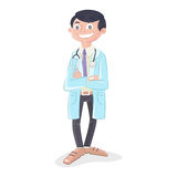 Doctor with stethoscope and uniform standing. Vector illustration of a doctor with stethoscope and uniform standing Stock Photography