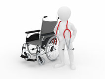 Doctor with stethoscope and  whellchair Stock Photo