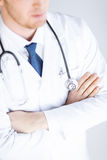 Doctor with stethoscope in white uniform Royalty Free Stock Photos