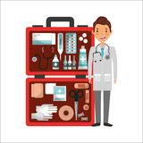 Doctor with sthetoscope and first aid suitcase emergency tools. Vector illustration Stock Photo