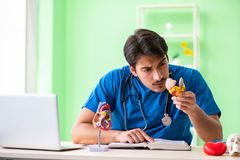 The doctor student explaining heart problems. Doctor student explaining heart problems stock photos