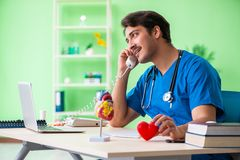 The doctor student explaining heart problems. Doctor student explaining heart problems stock photo