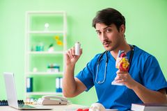 The doctor student explaining heart problems. Doctor student explaining heart problems royalty free stock images