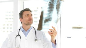 Doctor studying an xray and looking at camera Stock Images
