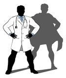 Doctor Super Hero Silhouette. A doctor super hero silhouette conceptual illustration of a doctor standing with his hands on his hips with a shadow revealing him Royalty Free Stock Image