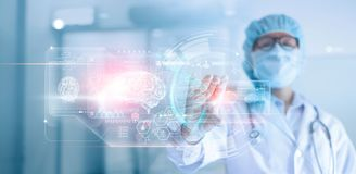 Doctor, surgeon analyzing patient brain testing result and human anatomy, dna on technological digital futuristic virtual