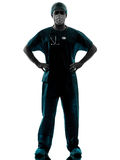 Doctor surgeon man with face mask silhouette Stock Photography