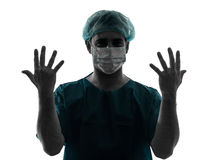Doctor surgeon man portrait showing hands stock photography