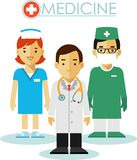 Doctor, surgeon and nurse in flat style Stock Photography