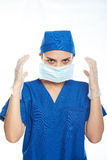 Doctor surgeon putting mask on Royalty Free Stock Photo