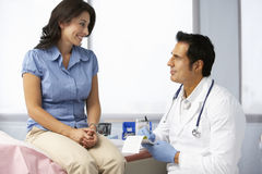 Doctor In Surgery With Female Patient Writing Prescription Royalty Free Stock Images