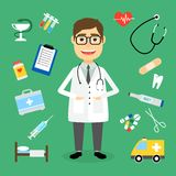 Doctor surrounded by medical icons. Smiling happy male doctor with glasses surrounded by medical icons with an ambulance  stethoscope  first aid kit  hypodermic Stock Photo
