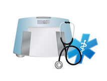 Doctor symbol and weight scale, illustration Stock Images