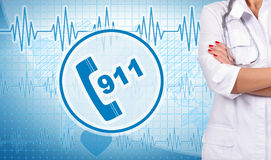 Doctor and 911 symbol. Woman doctor and 911 symbol on background Stock Image