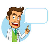 Doctor. Sympathetic doctor, he is explaining something, you have a site where you can put your text vector illustration