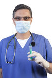 Doctor with syringe royalty free stock photos