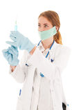 Doctor with syringe and medicine Stock Photos