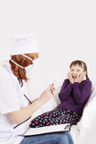 Doctor with syringe needle and girl scared Royalty Free Stock Photos