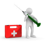 Doctor with syringe on white. Isolated 3D Stock Photography