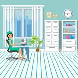 The doctor is at the table in the office. The office is in the clinic with furniture and a window. City landscape outside the wind. Ow. Vector illustration Stock Image