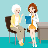 Doctor Talking With Elderly Patient About Her Symptoms Royalty Free Stock Photography