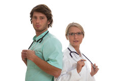 Two specialists working together Stock Photos