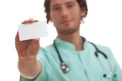 Doctor holding his card Stock Image