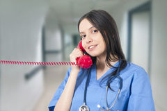 Doctor talking. On the phone Royalty Free Stock Photography
