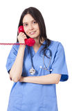 Doctor talking. On the phone Royalty Free Stock Images