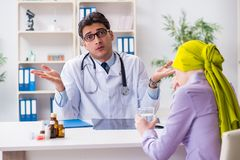 The doctor talking to cancer patient in hospital. Doctor talking to cancer patient in hospital Stock Images