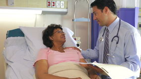 Doctor Talking To Senior Female Patient In Hospital Bed stock video