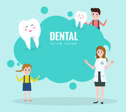 Doctor teaching about healthy teeth. Text bubble.  flat character design. vector illustration Royalty Free Stock Photos