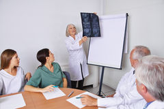 Doctor at team meeting with x-ray image stock photos