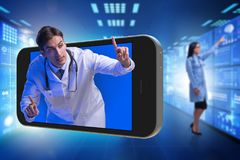 The doctor in telehealth medical concept. Doctor in telehealth medical concept Stock Photo