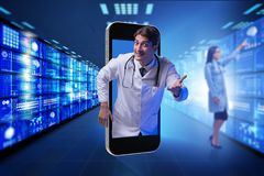 The doctor in telehealth medical concept. Doctor in telehealth medical concept Royalty Free Stock Images