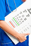 Doctor and test for eye examination Stock Photos