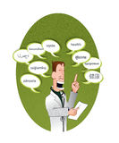 Doctor and text balloons saying health (multilingu Royalty Free Stock Photography