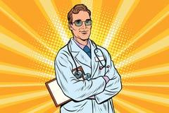Doctor therapist confident smiles. Vintage pop art retro vector illustration. Medicine and health. Profession to treat people stock illustration